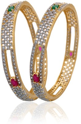 Alysa Copper, Brass Cubic Zirconia Yellow Gold, Rhodium Bangle Set(Pack of 2)
