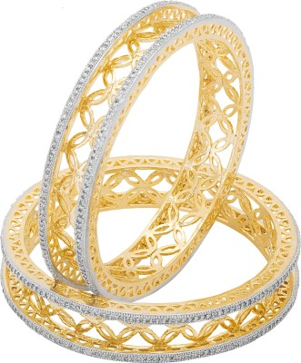 Adwitiya Collection Copper Cubic Zirconia 24K Yellow Gold Bangle Set(Pack of 2)