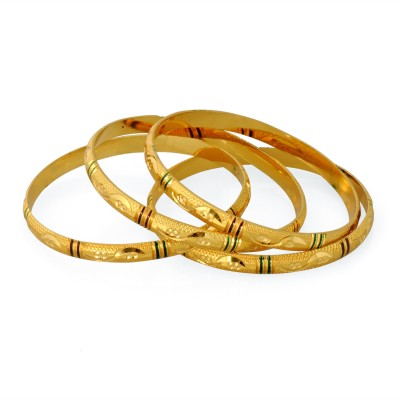Luxor Brass Yellow Gold Bangle Set(Pack of 4) at flipkart