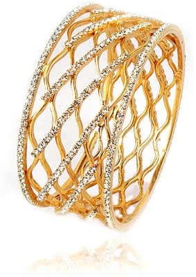 VK Jewels Alloy Cubic Zirconia Yellow Gold Bangle at flipkart