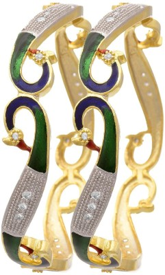 Zeneme Alloy Cubic Zirconia Bangle Set(Pack of 2) at flipkart
