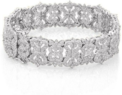 Shaze Brass Cubic Zirconia Silver Bracelet at flipkart