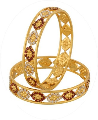 Vama Fashions Alloy Cubic Zirconia Rhodium Bangle Set(Pack of 2) at flipkart