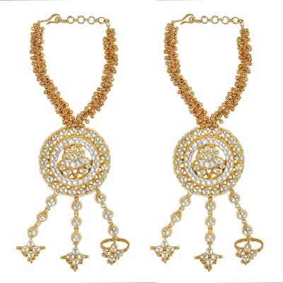 Sri Shringarr Fashion Copper Pearl Yellow Gold Bracelet Set at flipkart