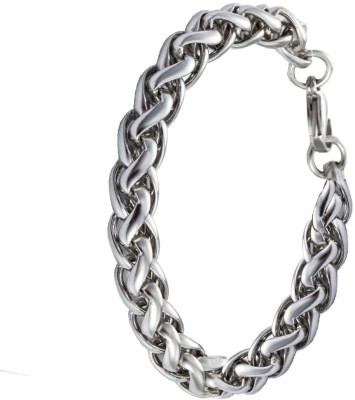 Men Style Stainless Steel Silver Bracelet at flipkart