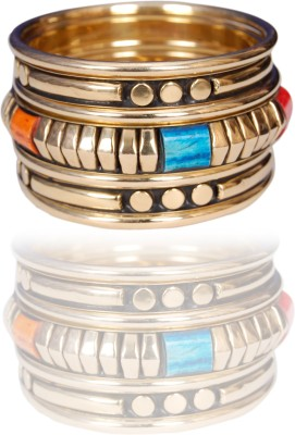 Loxia Brass Yellow Gold Bangle Set(Pack of 3) at flipkart