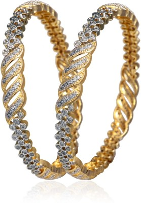 Fashion Fusion Brass, Copper Cubic Zirconia Gold-plated, Rhodium Bangle Set(Pack of 2)