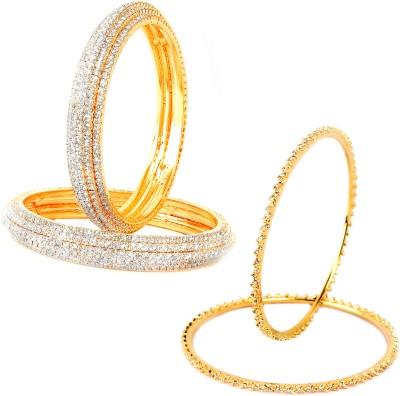 VK Jewels Alloy Cubic Zirconia Gold-plated Bangle Set(Pack of 4) at flipkart