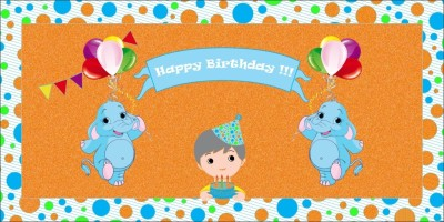 Untumble Backdrop - Elephant Theme Birthday Banner(4 ft, Pack of 1)