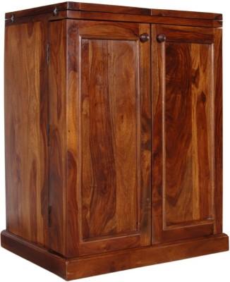 Home Edge Weave Sheesham Solid Wood Bar Cabinet(Finish Color - Teak Finish)