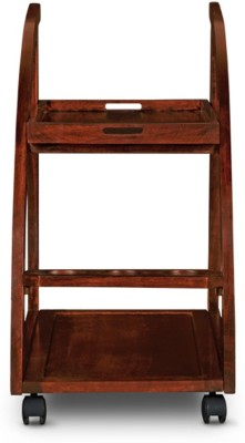 HomeTown Solid Wood Bar Trolley(Finish Color - Rich Brown) at flipkart