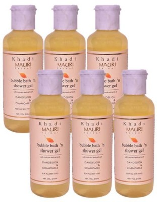 Khadi Mauri Shower Gel - Pack of 6 - Premium Herbal Ayurvedic(1260 ml)