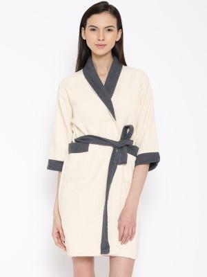 WELHOME Beige Medium Bath Robe(1 Bath Robe, For: Men & Women, Beige) at flipkart