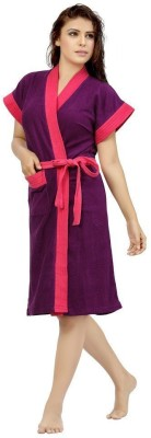 Elevanto Purple Free Size Bath Robe(1 Bathrobe, For: Women, Purple) at flipkart