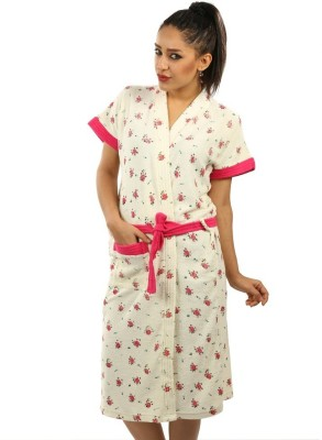 Red Rose Cream XL Bath Robe(Package Contents- 1 Bathrobe, For: Women, Cream) at flipkart