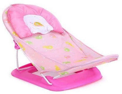 Deluxe Baby Bather - For newborn to till sit up unaided foldable with neck support pillow Baby Bath Seat(Pink)