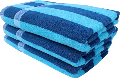 Mandhania Cotton Set of Towels(Pack of 3, Blue)