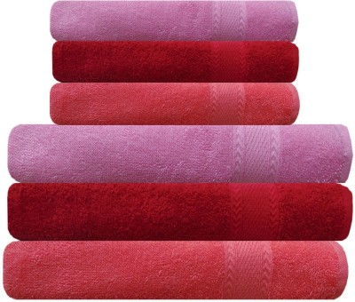 Akin Cotton Bath & Hand Towel Set(Pack of 6, Peach, Red, Pink)