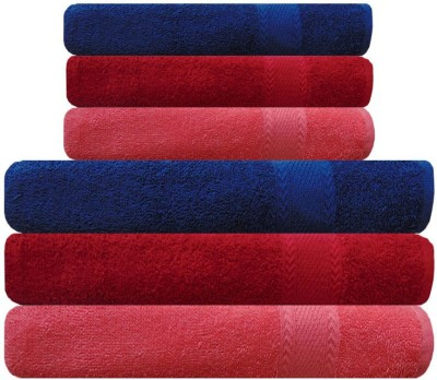 Akin Cotton Bath & Hand Towel Set(Pack of 6, Peach, Red, Blue)