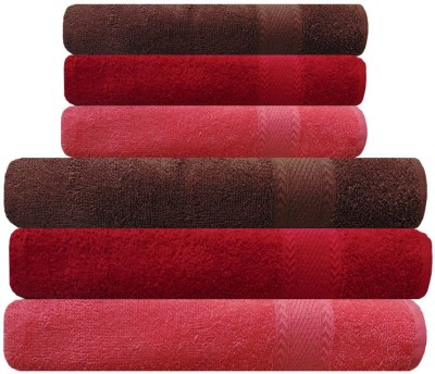 Akin Cotton Bath & Hand Towel Set(Pack of 6, Peach, Red, Brown)