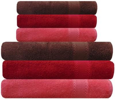 Akin Cotton Bath & Hand Towel Set(Pack of 6, Peach, Red, Brown)