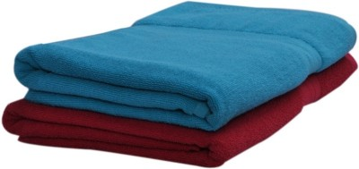 Skumars Love Touch Cotton 425 GSM Bath Towel(Pack of 2, Blue, Red) at flipkart