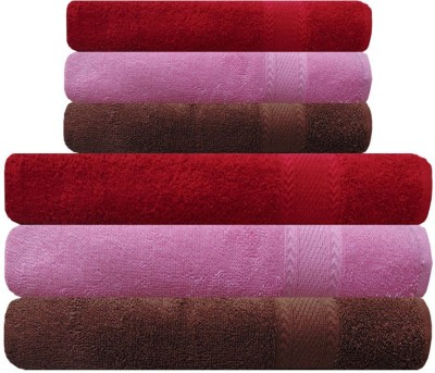 Akin Cotton Bath & Hand Towel Set(Pack of 4, Pink, Red, Brown)