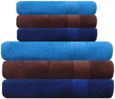 Akin Cotton Bath & Hand Towel Set(Pack of 6, Brown, Blue)