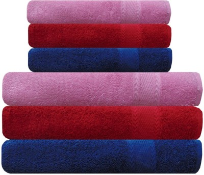 Akin Cotton Bath & Hand Towel Set(Pack of 6, Pink, Red, Blue)
