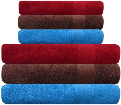 Akin Cotton Bath & Hand Towel Set(Pack of 6, Brown, Red, Blue)