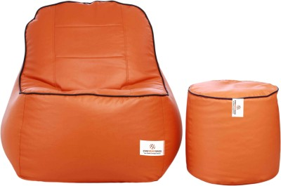 Star XXXL Lounger Bean Bag  With Bean Filling(Orange, Brown)