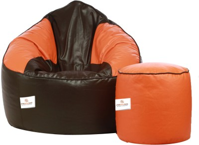 Star XXXL Bean Bag Sofa  With Bean Filling(Brown, Orange)