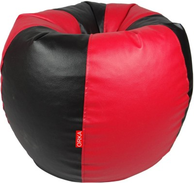 ORKA XXL Bean Bag Cover  (Without Beans)(Red, Black)