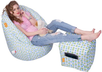 Orka Bean Bags XXXL Bean Bag Cover  (Without Beans)(Green, White) at flipkart