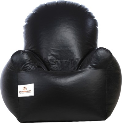 Star XXL Emperor Arm Chair Bean Bag Chair  With Bean Filling(Black)