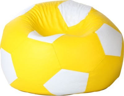 Comfy Bean Bags XL Bean Bag Cover  (Without Beans)(Yellow, White)