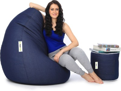 Canbeanbags XXL Bean Bag Cover  (Without Beans)(Blue) at flipkart