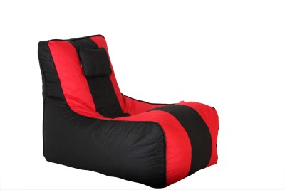 Comfy Bean Bags XL Lounger Bean Bag Cover  (Without Beans)(Black, Red)