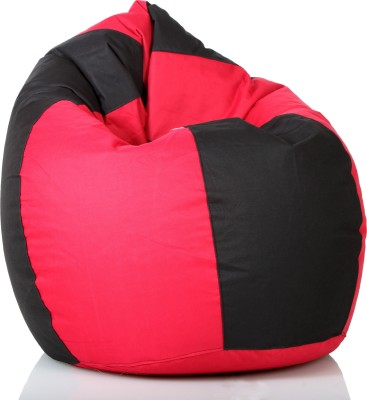 Comfy Bean Bags XXXL Bean Bag Cover  (Without Beans)(Black, Red)