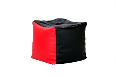 Comfy Bean Bags XL Bean Bag Footstool  With Bean Filling(Black, Red)