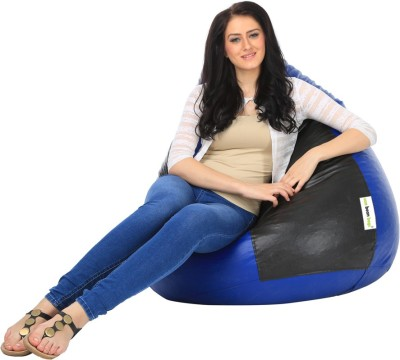Can bean bags XXL Bean Bag Cover  (Without Beans)(Blue, Black)