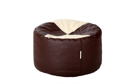 Comfy Bean Bags XL Bean Bag Footstool  With Bean Filling(Brown, Beige)