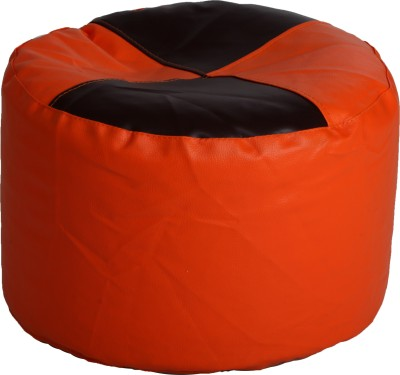 Comfy Bean Bags XL Bean Bag Footstool  With Bean Filling(Black, Orange)