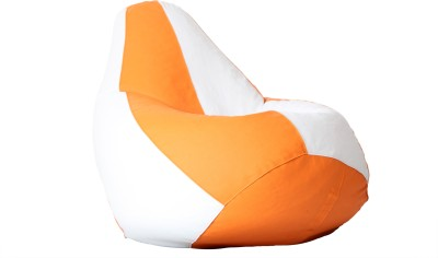 Comfy Bean Bags XXXL Bean Bag Cover  (Without Beans)(White, Orange)