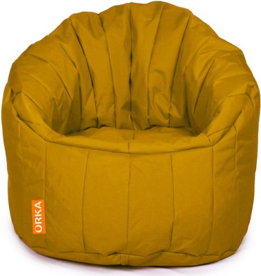 ORKA XXXL Big Boss Chair Bean Bag Sofa  With Bean Filling(Yellow) at flipkart