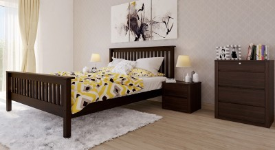 Urban Ladder Athens Solid Wood Queen Bed(Finish Color -  Dark Walnut)