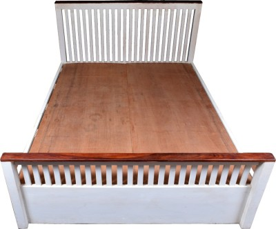 aAdinath Solid Wood Queen Bed(Finish Color -  White & Brown)