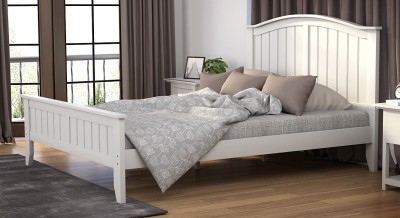 Urban Ladder Wichita Solid Wood Queen Bed(Finish Color -  White)