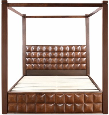 @home by Nilkamal David Solid Wood Queen Bed With Storage(Finish Color -  Walnut) at flipkart