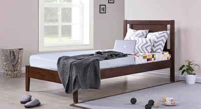Urban Ladder Brandenberg Solid Wood Single Bed(Finish Color -  Dark Walnut)